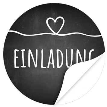 48 Design Etiketten, Rund / Einladung Mit Herz Kreide Tafel Look / Hochzeit  / Liebe