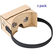 Google Cardboard by IHAUQI with Headstrap 2 Pack Unibody Design Pre-assembled Easy to Setup and Use