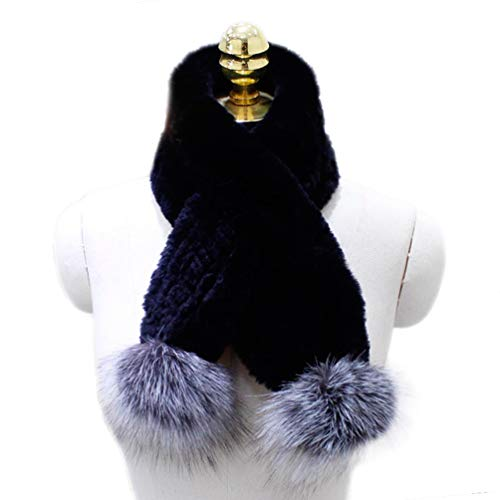 - Women's Winter Warm Natural Real Rex Rabbit Fur Scarf With silver fox fur ball Neck Warmer (Black)