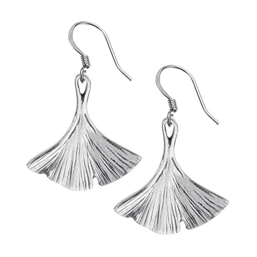 DANFORTH - Ginkgo Leaf Earrings - 7/8 Inch - Surgical Steel Wires - Pewter - Handcrafted - Made in USA ()