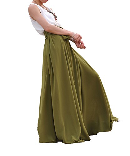 Melansay Women's Beatiful Bow Tie Summer Beach Chiffon High Waist Maxi Skirt XL,Army Green