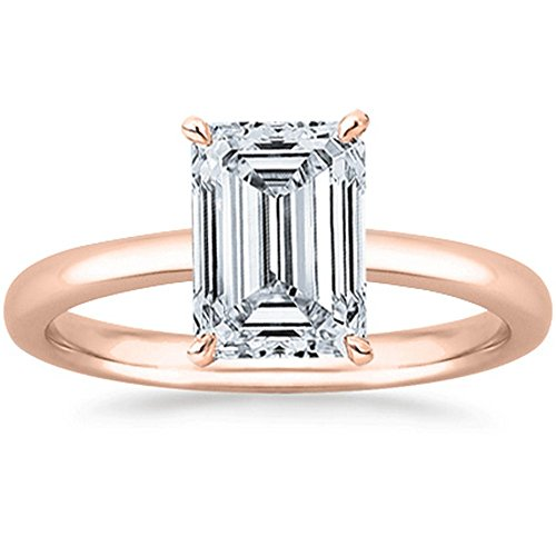 (0.5 1/2 Ct GIA Certified Emerald Cut Solitaire Diamond Engagement Ring 14K Rose Gold (K Color VS1 Clarity))