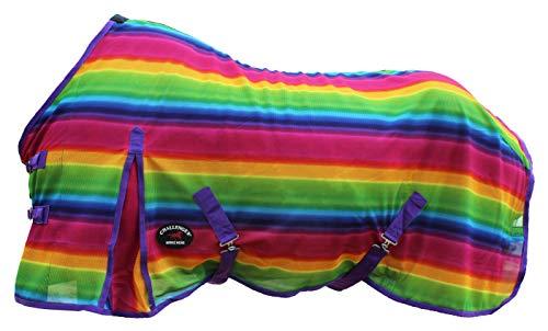 "Challenger Horsewear 84"" Horse Fly Sheet Summer Spring Airflow Mesh UV Rainbow 7343"