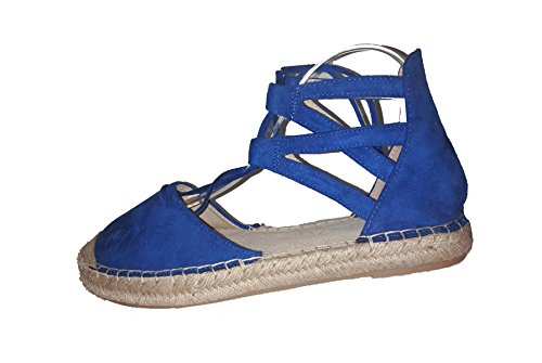 Chanclas para mujer, espadrilles, sandalias para mujer, azul y negro, modello 11064113078311, diferentes modelos y tamaños. Azul