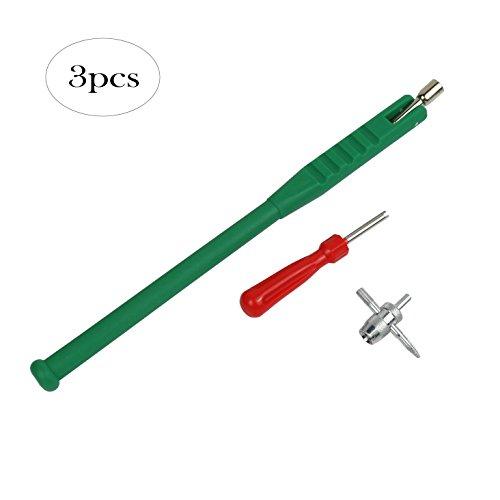 Pull Valve (Wisdomen Green plastic handle Tire Valve Stem Puller Tool with Valve Core Remover)