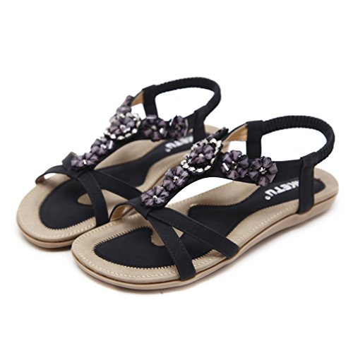 Ommda Women's Summer Bohemian Ankle Strap Sandals Black Flower Deco 59PEo