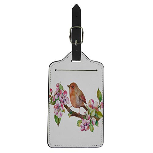 Semtomn Luggage Tag Green Apple Birds and Flowers Watercolor on Pink Color Suitcase Baggage Label Travel Tag Labels