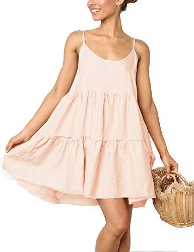 Beige Pleated Mini Dress Sleeveless Casual Swing T-Shirt Dresses Skater(Apricot,L)