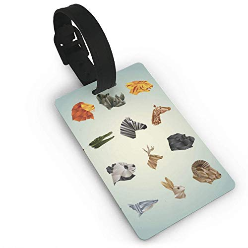 Lovwepilo Luggage Tags Collection Of Faceted Animals Airplane Name Tag Holder Labels (Faceted Black Buckle Belt Leather)
