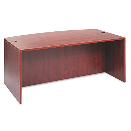 Alera ALEVA227236MC Valencia Bow Desk Shell, 71w x 35 1/2d to 41 3/8d x 29 5/8h, Medium Cherry