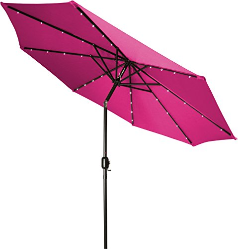 Trademark Innovations Deluxe Solar Powered LED Lighted Patio Umbrella, 9′, Pink