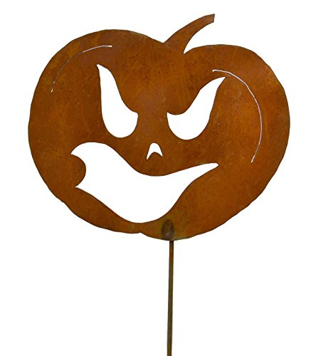 Sneaky Jack-o-Lantern Rustic Metal Yard Stake. Whimsical Halloween Decoration Idea. Handcrafted by Oregardenworks in the USA!