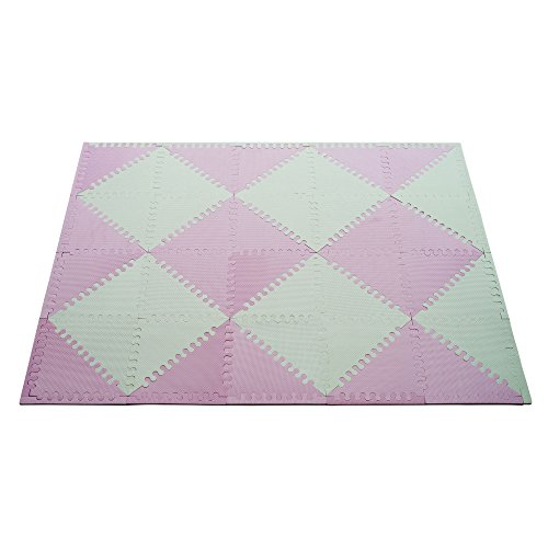 Baby Play Mat Extra Thick EVA 40 Triangle Non Toxic Tiles Kids Foam Mat Puzzle Soft EVA Flooring for Kids Play Gym and Baby Room Interlocking Chevron Foam (White/Pink 12