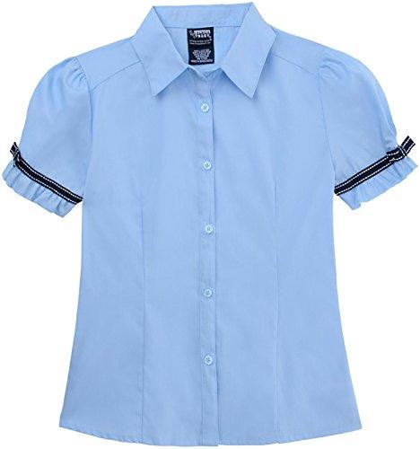 FRENCH TOAST School Uniforms Girls Short Sleeve Ribbon Bow Blouse - E9279 - Blue, 4