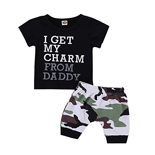 Baorong Summer 2 Piece Outfits Baby Boy Short Sleeve T-Shirt Camouflage Pants Casual Clothes Set XS