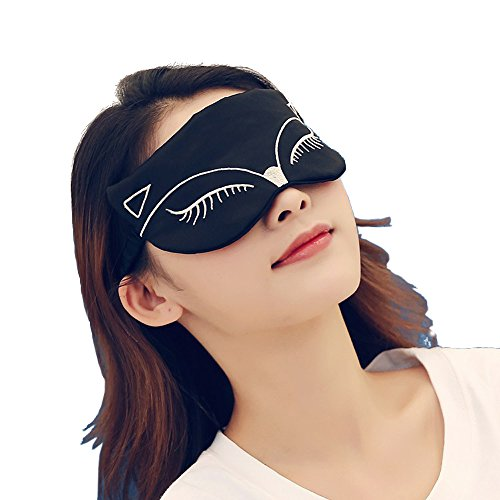 Novelty Eye Mask for Sleeping, 100% Natural Silk Sleep Mask & Blindfold for Women Girls, Sexy Fox Night Eye Shade Cover, Light Soft and Comfortable Sleeping Aid with Adjustable Strap (Black)
