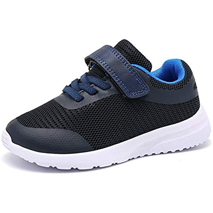 RIBONGZ Toddler Boys & Girls Tennis Shoes Slip On Sneakers Machine Washable Lightweight Running Shoes