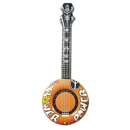 (MA ONLINE Girls Boys Pop Rock Festive Inflatable Toy Banjo Guitar Kids Blow Up Music Party Toys Accessories Orange One Size)