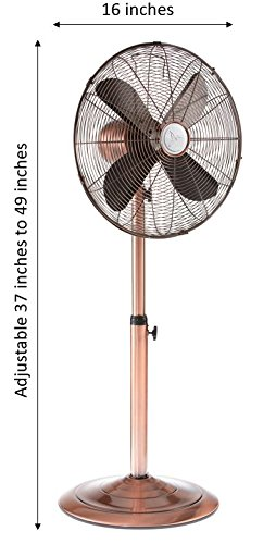 DecoBREEZE Pedestal Fan Adjustable Height 3 Speed Oscillating Fan, 16 In, Brushed Copper by Deco Breeze (Image #2)