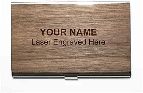 937f34fcf Personalized Wooden Business Card Holder, Stainless-Steel & Real Wood