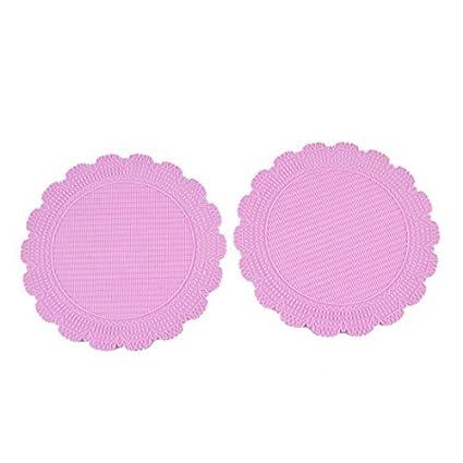 Estilo Ronda eDealMax PP resistente al calor del hogar Mat Coaster 2pcs púrpura