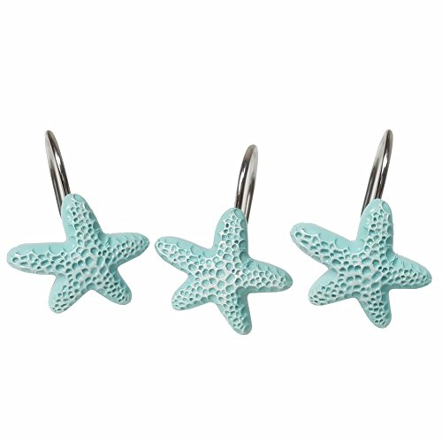 ive Blue Starfish Decorative Shower Curtain Hooks Rod Decor for Bathroom, Livingroom,Restroom, Study Room, Kitchen (Retail Curved Shower Rod)