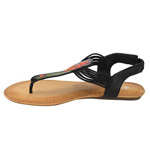 Womens Gladiator Roman Ankle T-strap Flats Sandals Thongs Shoes Black-49 wnOyAb2VY