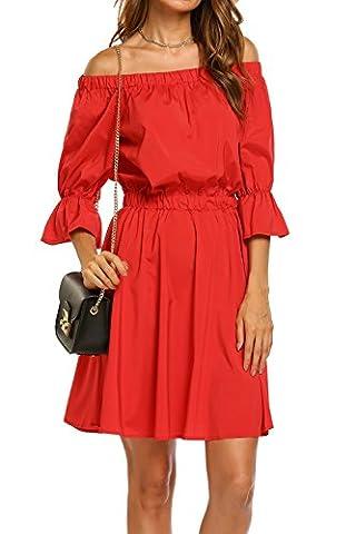 Women's Off Shoulder Trumpet Sleeve Beach Dress Ruffle Mini Dress (Small, Red) - Flare Mini Dress