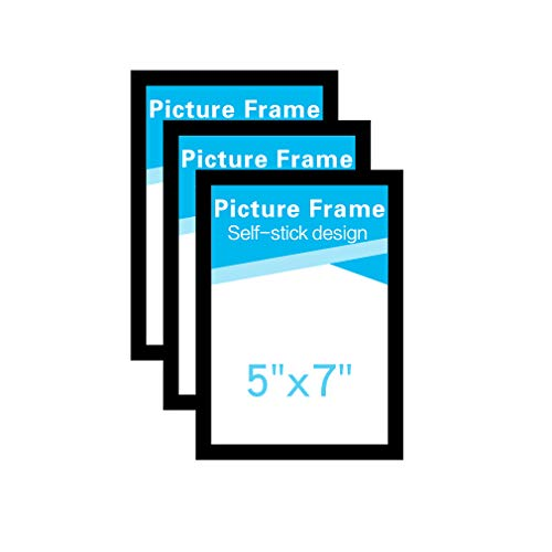 MFoffice 5x7 Picture Frames Made of Durable PVC and Strong Magnetic,Self Adhesive for Refrigerator/Wall/Door/Window/Cabinet Display,Black,Pack of 3 ()