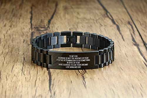 Stainless Steel To My Son Love Mom Courage Inpsirational Wristband Bracelets, Birthday Gifts to Son ,Valentine's Day…