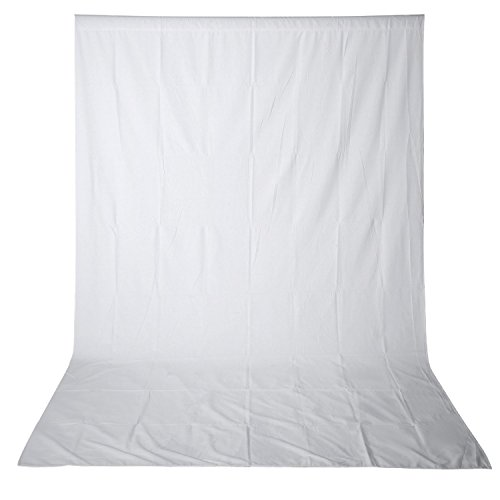 x 3.6M PRO Photo Studio 100% Pure Muslin Collapsible Backdrop Background for Photography,Video and Television (Background ONLY) - WHITE (3 Muslin)