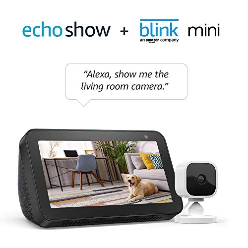 Echo Show 5 Charcoal with Blink Mini Indoor Smart Security Camera, 1080 HD with Motion Detection