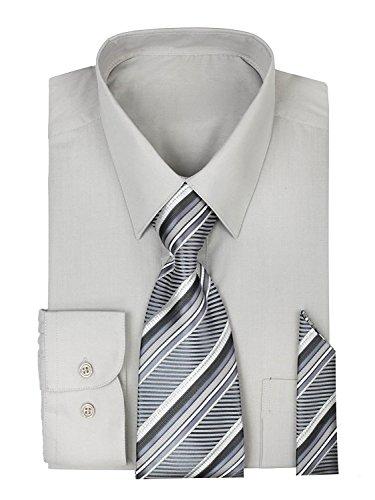 Urban Fox Men's Long Sleeve Dress Shirt with Matching Tie & Handkerchief Set | Dress Shirts for Men | Button up Shirt | Ash Grey 17-17-1/2-36-37