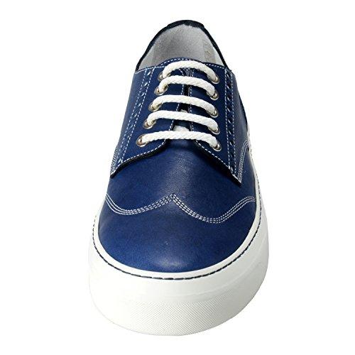 Jimmy Choo Reggy Heren Leer Zeeblauw Lace Up Mode Sneakers Casual Schoenen Zeeblauw
