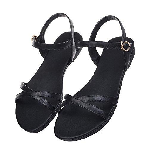 AllhqFashion Sólido Mini Tacón Hebilla Puntera Abierta Sandalias de vestir Negro