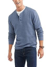 Men's Long Sleeve Waffle Knit Thermal Henley Top/Shirt