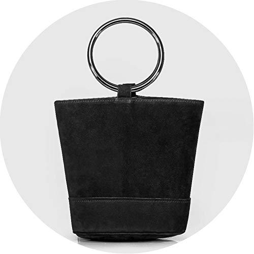 Classic Small Bucket Bag Tote with Wood Handel Women Genuine Leather Handbags,large black metal ha