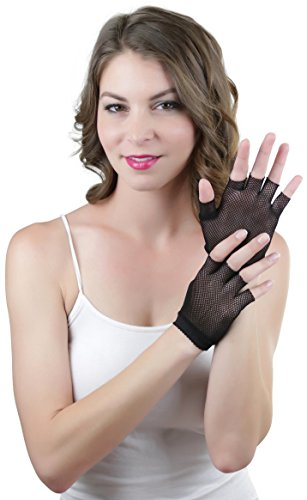 ToBeInStyle Women's Fishnet 100% Nylon Wrist Length Glove Warmers - Black