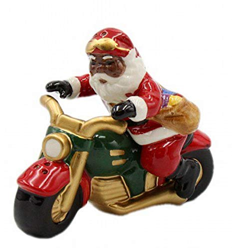 Cosmos Gifts 56564 African American Santa Riding Motorcycle Salt And Pepper Set, 4-1/4