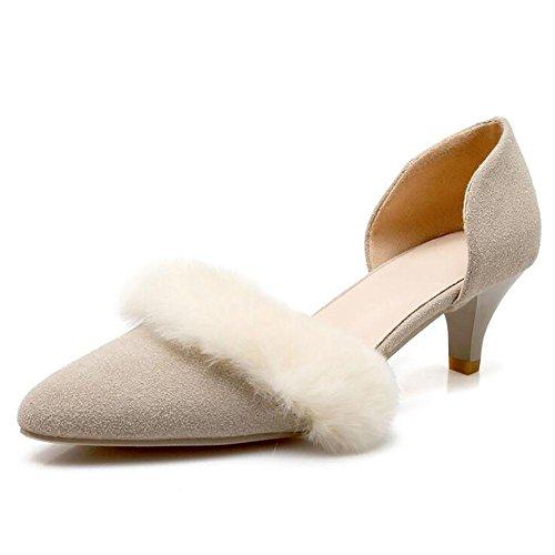 Matte européenne cuir Pointu faible talon sandales femme en peluche Décoration , beige , 40