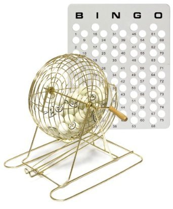 Bingo Set - Large Brass Cage, Balls and Masterboard