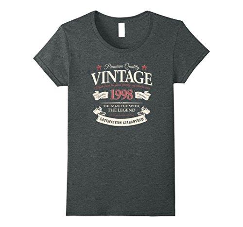 Womens Vintage Made In 1998 T-Shirt 19th Birthday Wine Label Gift XL Dark Heather