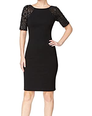Womens Sequined Elbow Sleeves Cocktail Dress