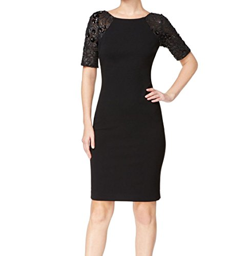 Calvin Klein À Sequins Manches Noir Robe Fourreau Des Femmes
