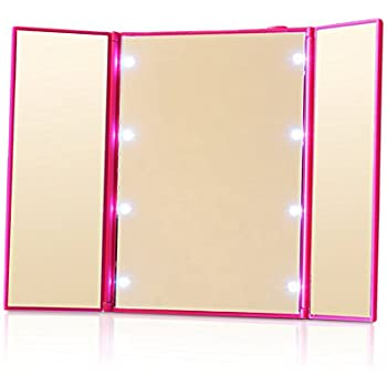 Amazon Com Desktop Foldable Led Makeup Mirror Lighted