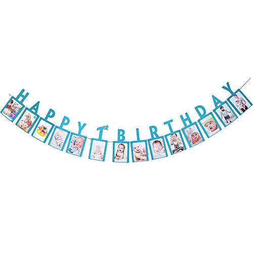 Hatcher lee Happy 1st Birthday One Year Photo Banner Blue Foiled for Wedding Sign Bridal Shower Banner Hen Night Bunting