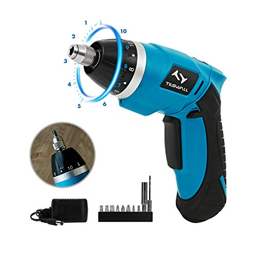 Electric Screwdriver Tilswall Mini Cordless Screwdriver Rechargeable USB 2000mAh 3.6V 4N.m Battery 10+1 Torque Adjustments with Extra Bits Set for Home DIY and Fit for Ladies, Newbies and Experienced