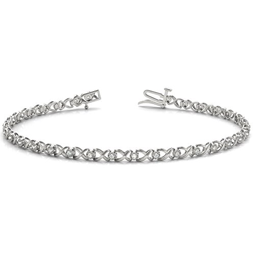 1/4 Carat TW XO Diamond Bracelet in 10K White Gold