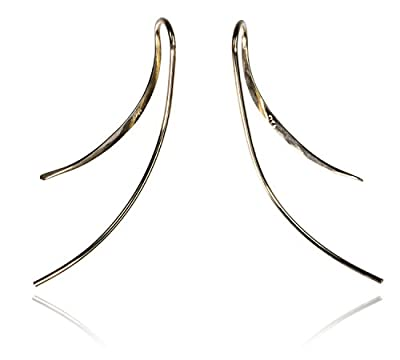 14K Yellow Gold Earrings Upsilon Design by ugems