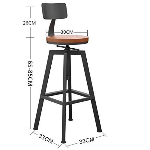 (FFLSDR Iron Bar Stool, High Stool Solid Wood Bar Stool Round Rotating Lift Bar Chair)